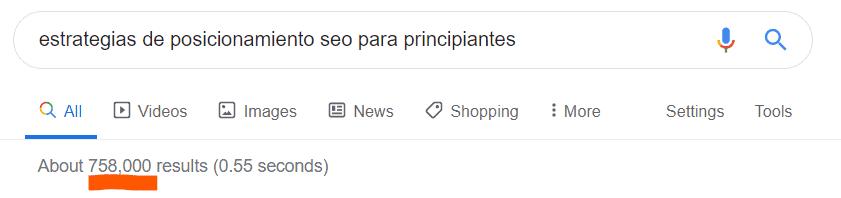 Ejemplo de búsqueda en Google para redacción SEO