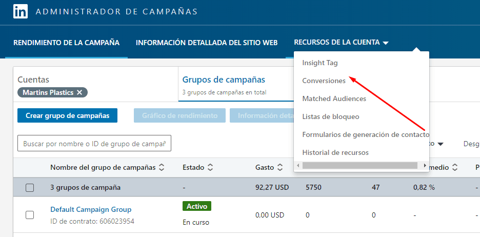 Creación de Insight Tag en Linkedin Ads Manager