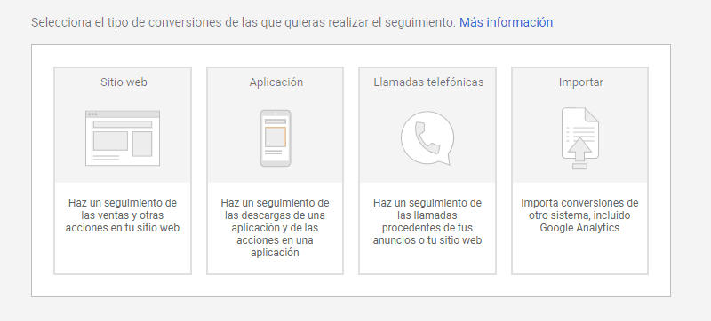 Estas son las opciones que te da Google Ads como potenciales conversiones en marketing digital