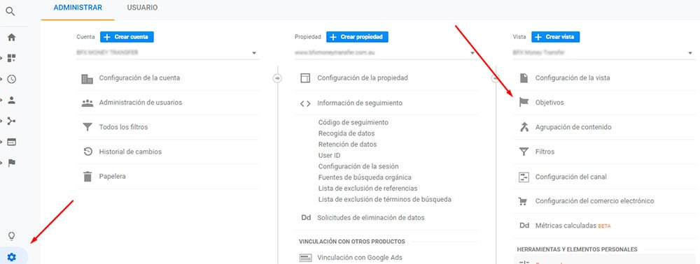 Cómo llegar a la configuración de objetivos en Google Analytics para conversiones en marketing digital