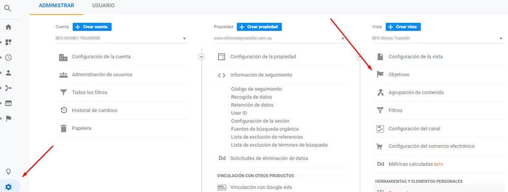 Cómo llegar a la configuración de objetivos en Google Analytics para conversiones en marketing digital