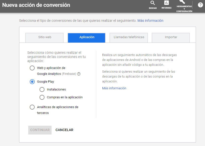 Instalar conversión de Aplicación en Google Ads para conversiones en marketing digital