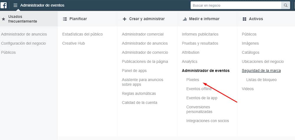 Entrar a la configuración de Pixeles en Facebook Business Manager para conversiones en marketing digital