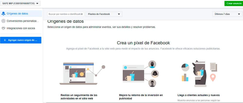 Crear un Pixel en Facebook Business Manager