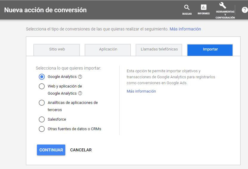Importar conversiones a Google Ads desde Analytics para conversiones en marketing digital