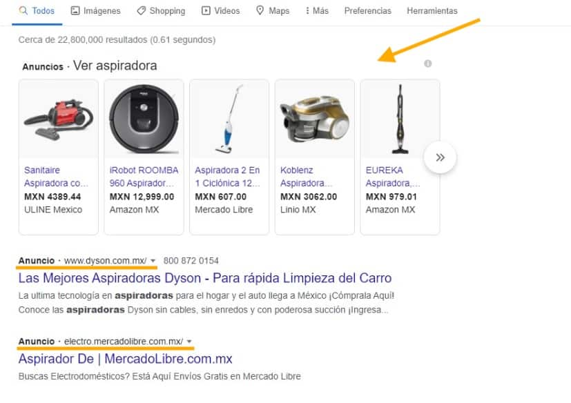 anuncios en google tipo search lluvia digital