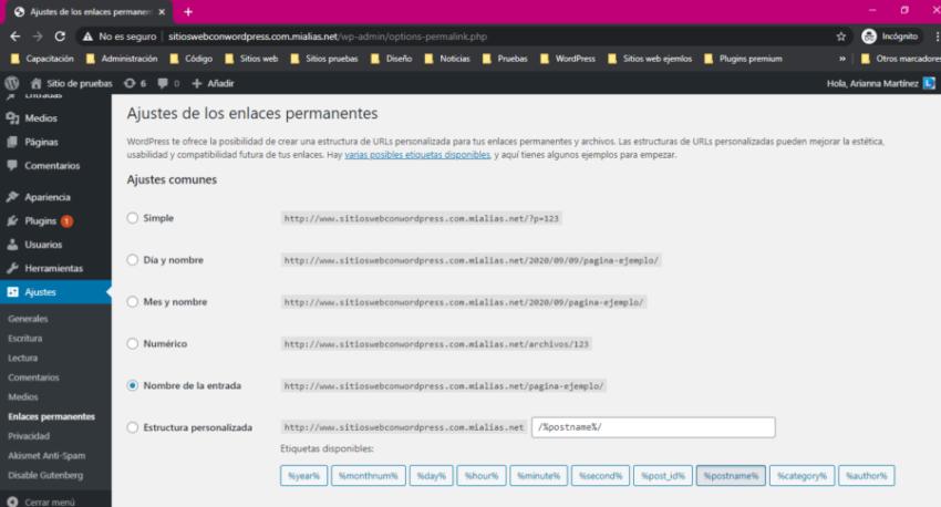 Panel de ajustes de enlaces permanentes en WordPress