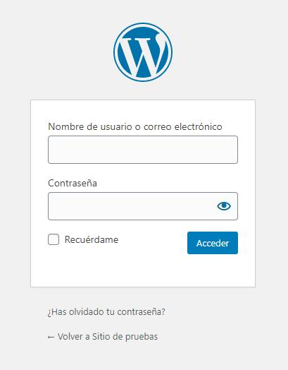 Página de acceso al administrador de WordPress