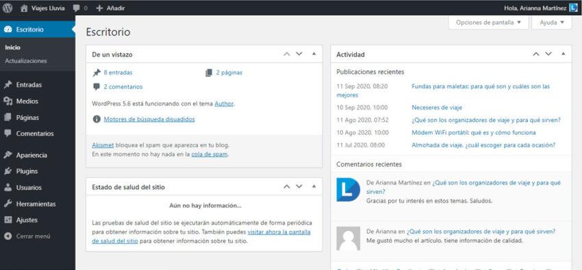 Panel de administración de WordPress Lluvia Digital