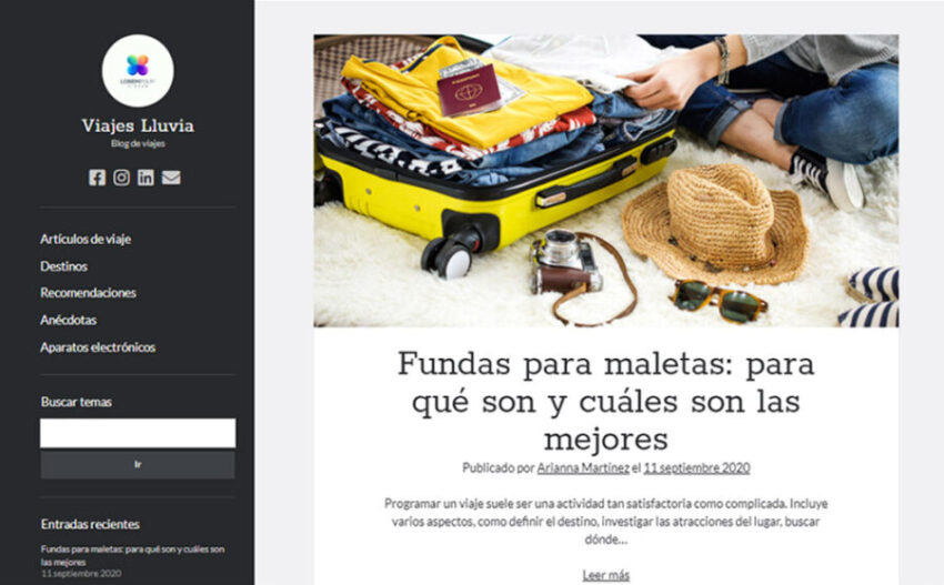 Portada de blog creado con WordPress